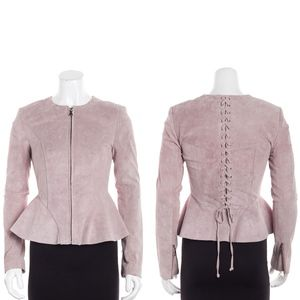 intermix • sofie pink blush suede lace up jacket